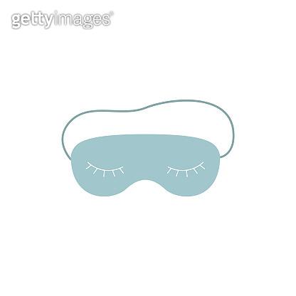 Cute blue sleeping mask with closed eyes and eyelashes.