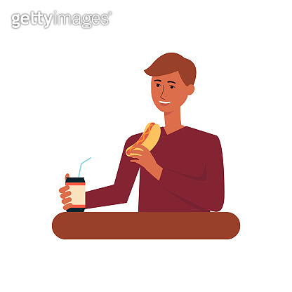 Young man eating fast food meal, adult male cartoon character drinking soda and eating hot dog