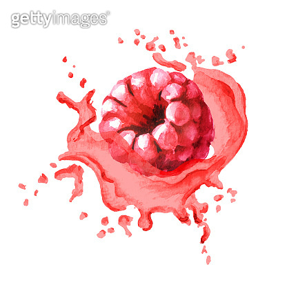 Fresh raspberry in splash of juice isolated on white background. Watercolor hand drawn illustration