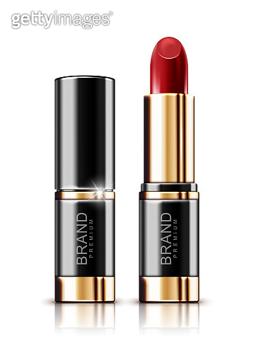 Fashion lipstick with golden package isolated on white background. Realistic vector illustration.