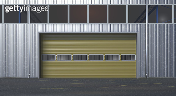 Garage or warehouse of metal. Vector illustration.