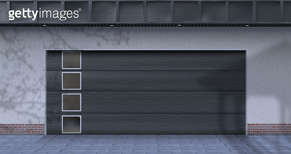 Garage in the yard. Vector illustration.
