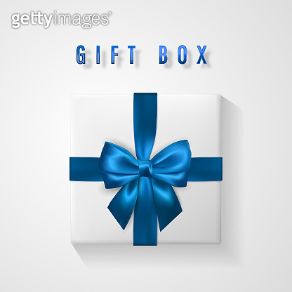 Set White Gift box with blue bow and ribbon top view. Element for decoration gifts, greetings, holidays. Vector illustration