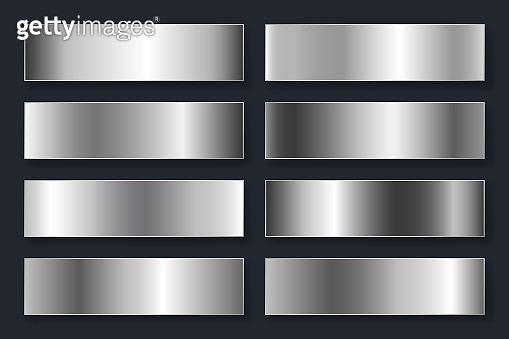 Collection of backgrounds with a metallic gradient. Brilliant plates with silver chrome effect. Vector illustration
