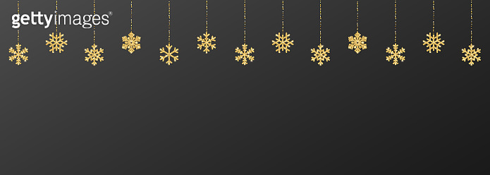Christmas or New Year golden snowflake decoration garland on black background. Hanging glitter snowflake. Vector illustration
