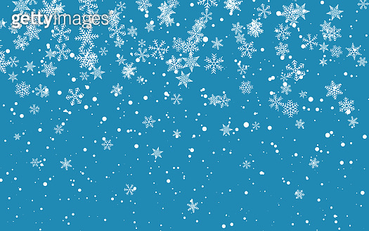 Christmas snow. Falling snowflakes on blue background. Snowfall. Vector illustration