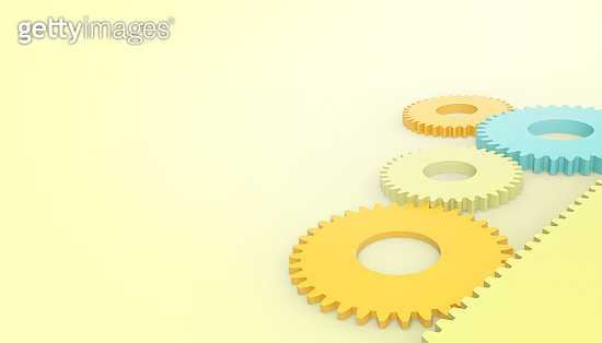 Abstract techno Engine gear wheels Toy , industrial Concept card on pastel Yellow background for copy space - 3d rendering