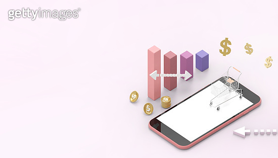 Smart phone online shopping concept Digital marketing and Concept Graphs and investments Money on pastel Pink background - 3d rendering