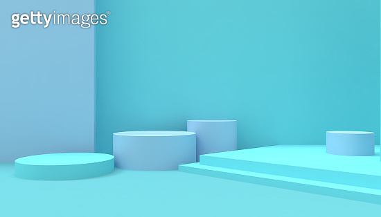 Podium composition Geometric Circle shape minimal and Modern concept Art pastel Blue wall on Blue background - 3d rendering