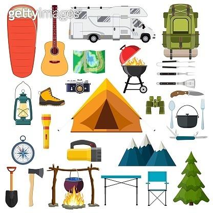 Mountain hike elements.