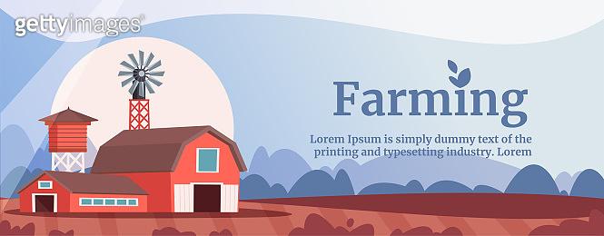 Farming flat vector banner template
