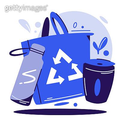 Zero waste lifestyle flat vector illustration