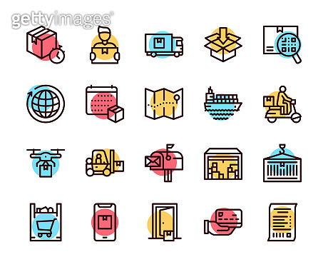 Worldwide post delivery linear icons set