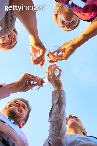 Directly below view of business colleagues toasting wineglasses during success party