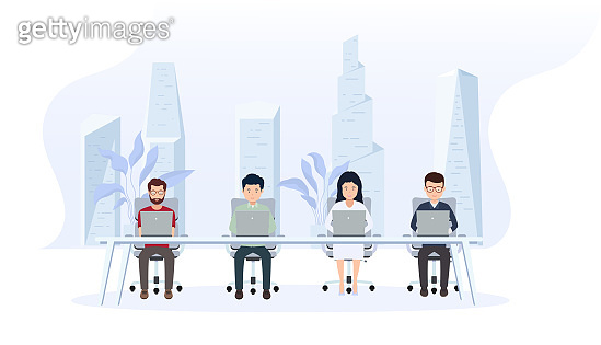 Office interior with employees. Creative office workspace with a large window and a modern city behind, desktop, laptop.