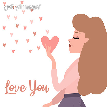 Valentine's day, romantic illustration with woman. Love story. Editable vector illustration