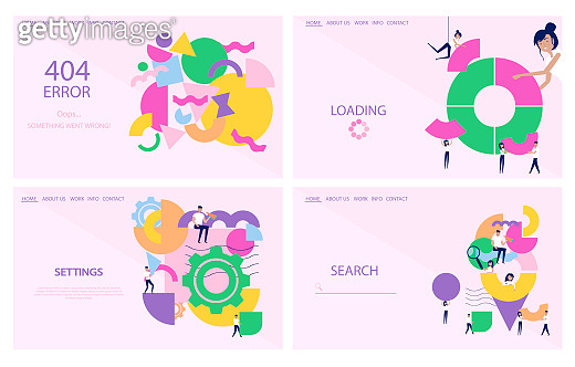 Set of landing page, settings, loading bar, error and search page.