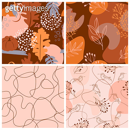 Set of abstract autumn seamless pattern with autumn elements, shapes and plants in one line style.