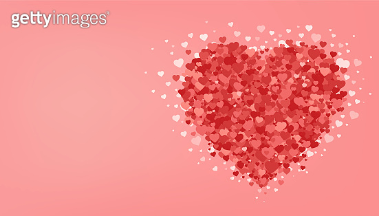 Big red heart on pink background. Valentine's day. Romantic greeting card. Love festive poster. Vector illustration.