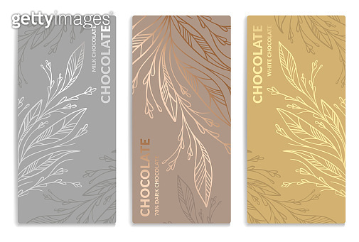 Silver and gold vintage set of chocolate bar packaging design. Vector luxury template with ornament elements. Can be used for background and wallpaper. Great for food and drink package types.