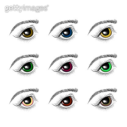 set of eyes of different colors. Isolated on white background