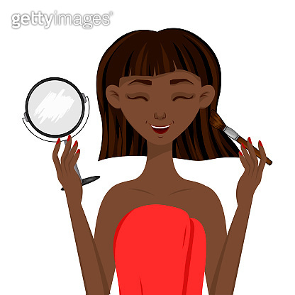 Beauty african woman causes blush in front of the mirror. Cartoon style. Vector illustration.