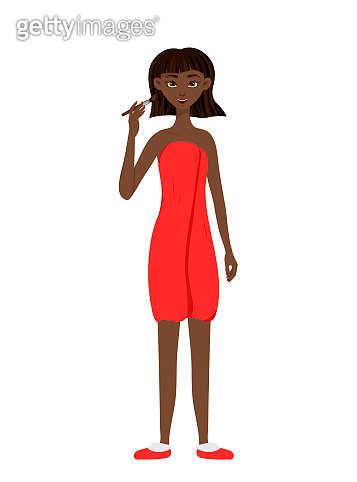 Beauty african woman applies makeup to the face. Cartoon style. Vector illustration.