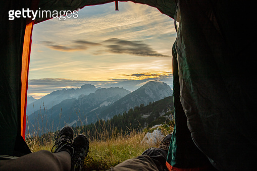 View of camping in high mountains