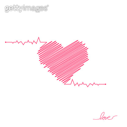 Heart pulse. Red and white colors. Heartbeat lone, cardiogram. Beautiful healthcare, medical background. Modern simple design. Icon. sign or logo. Flat style vector illustration
