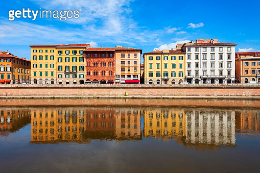 Colorful houses, Arno river waterfront