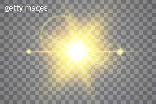 Vector transparent sunlight special lens flare light effect. Isolated sun flash rays and spotlight. White front translucent sunlight background. Blur abstract glow glare decor element. Star burst
