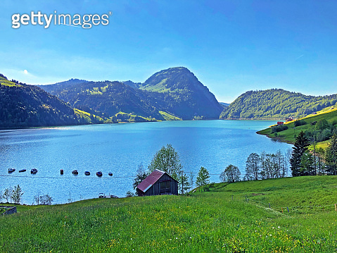 Traditional architecture and farmhouse in the valley of Wagital or Waegital and by the alpine Lake Wagitalersee (Waegitalersee), Innerthal