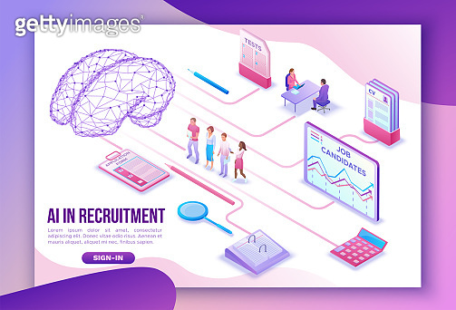 Artificial intelligence in human resources, recruiting agency landing page template with 3d employer hiring worker, job interview, candidate search work, business people, isometric vector illustration