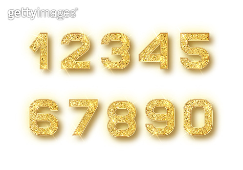Gold glitter alphabet numbers set with shadow. Vector realistick shining golden font number 1,2,3,4,5,6,7,8,9,0 of sparkles on white background. For decoration of cute wedding, anniversary, party, label, headline, poster, sticker.
