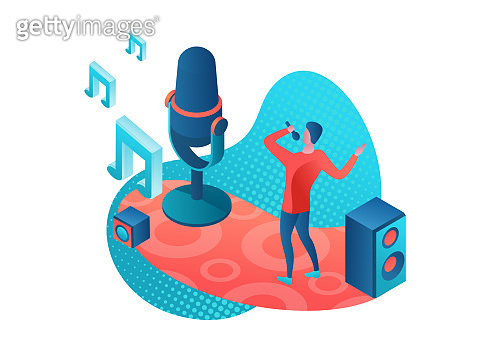 Singer 3d isometric vector colorful illustration, girl singing with microphone, radio person