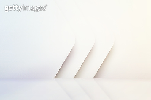 White empty scandinavian room interior with glossy floor. luxury clean bright white interior. Abstract white background. 3D illustration
