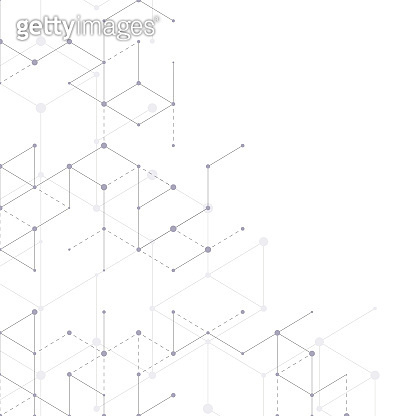 Modern line art pattern with connecting lines on white background. Connection structure. Abstract geometric graphic background. Technology, digital network concept, vector illustration.