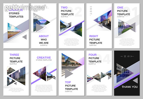 Creative social networks stories design, vertical banner or flyer templates with triangles and triangular shapes on white background. Covers design templates for flyer, leaflet, brochure, presentation