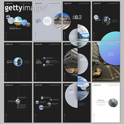 Minimal brochure templates with colorful gradient shapes, circles, round elements on black background. Covers design templates for flyer, leaflet, brochure, report, presentation, advertising, magazine