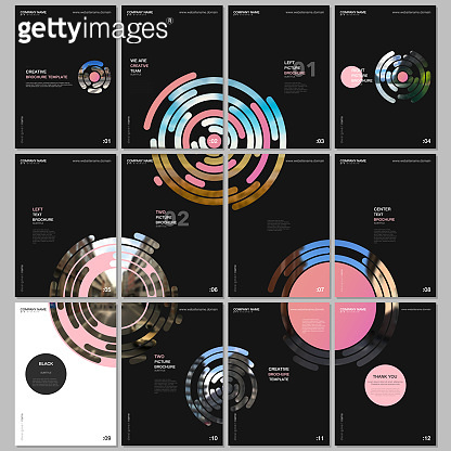 Minimal brochure templates with pink colorful circle elements, round shapes on black background. Covers design templates for flyer, leaflet, brochure, report, presentation, advertising, magazine.
