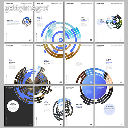 Minimal brochure templates with colorful blue circle elements, round shapes on white background. Covers design templates for flyer, leaflet, brochure, report, presentation, advertising, magazine.