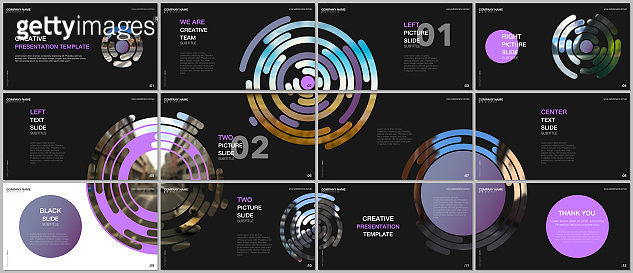 Minimal presentations design, portfolio vector templates with colorful purple circle elements on black background. Multipurpose template for presentation slide, flyer leaflet, brochure cover, report.
