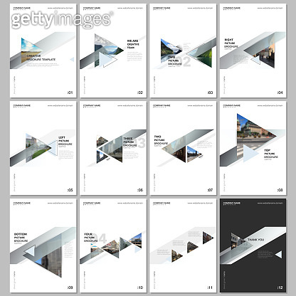 Minimal brochure templates with colorful gradient trangles and triangular shapes on white background. Covers design templates for flyer, leaflet, brochure, report, presentation, advertising, magazine.