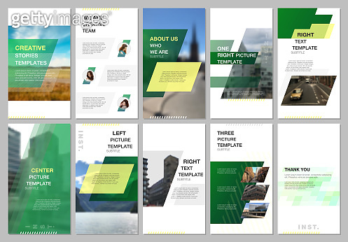 Creative social networks stories design, vertical banner, flyer templates with green colored colorful gradient geometric background. Covers design templates for flyer, leaflet, brochure, presentation