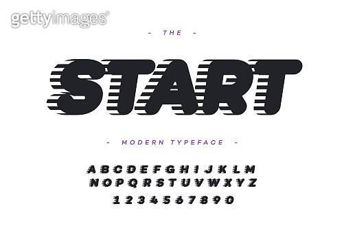 Vector font start 3d bold slanted style