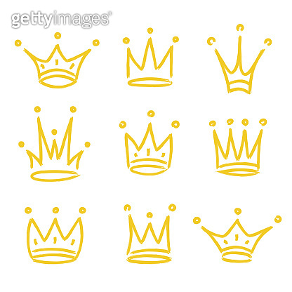 Gold crown icon set hand drawn style