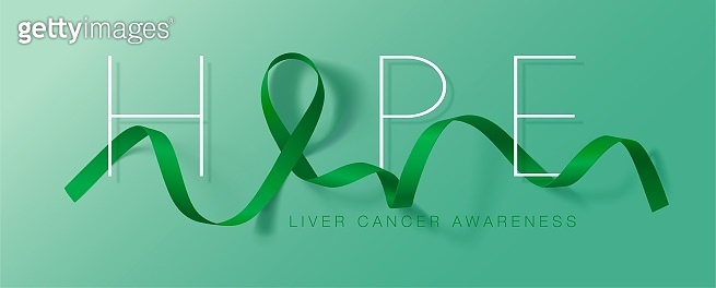 Hope. Liver Cancer Awareness Calligraphy Poster Design. Realistic Emerald Green Ribbon. October is Cancer Awareness Month. Vector