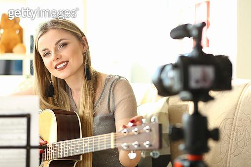 Guitar Player Recording Creative Musical Vlog