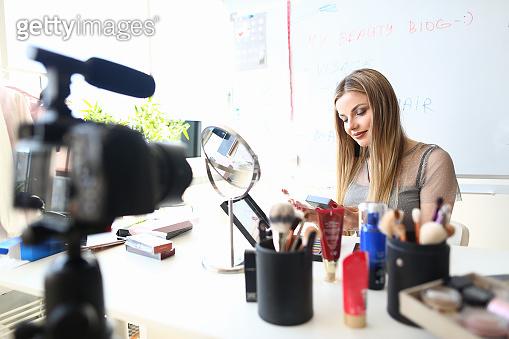 Blogger Recording Beauty Consultation for Vlog
