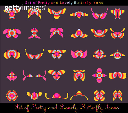 Set of butterfly and other insect vector shapes.